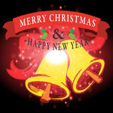 Bonne année avec le fond de Noël et le vecteur de carte de voeux Image libre de droits