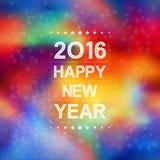 Bonne année 2016 avec le modèle de fusée de bokeh et de lentille à l'arrière-plan coloré Images stock
