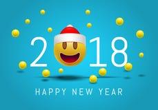 Bonne année 2018 avec le visage de sourire mignon d'emoji avec un chapeau de Santa Claus conception moderne de 3d Smiley Emoji po Images stock
