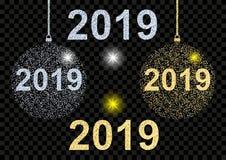 Bonne année 2019 Boule brillante d'or et argentée de Noël de texture pendant des vacances de Noël et de nouvelle année illustration libre de droits