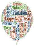 Bonne année - célébration de nouvelle année avec des mots frais Image stock