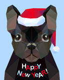 Bonne année ! Carte de félicitation Bouledogue français Chien - symbo illustration libre de droits