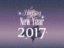 Bonne année 2017 Carte de Noël avec l'arbre et la neige de sapin de papier Vecteur Photos libres de droits