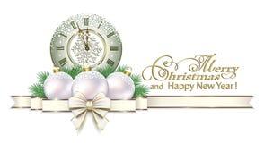 Bonne année 2019 Carte de Noël avec l'horloge et boules sur un fond blanc illustration libre de droits
