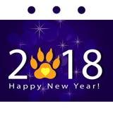 Bonne année, carte de voeux avec le nombre et voie de la patte du ` s de chien Vecteur Illustration photographie stock