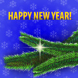Bonne année ! carte de voeux sur le fond bleu Photographie stock