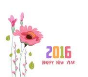 Bonne année 2016 Carte peinte d'aquarelle avec le pavot Image libre de droits