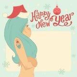 Bonne année ! Carte postale ou invitation de salutation avec la jeune fille de neige Photos stock