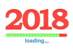 Bonne année 2018, concept de chargement rendu 3d illustration libre de droits