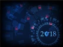 Bonne année 2018 Concept de sécurité de Cyber : Bouclier illustration stock