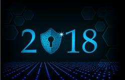 Bonne année 2018 Concept de sécurité de Cyber : Bouclier Photo libre de droits