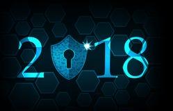 Bonne année 2018 Concept de sécurité de Cyber : Bouclier avec Keyhol Photos libres de droits