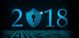 Bonne année 2018 Concept de sécurité de Cyber : Bouclier avec Keyhol Images libres de droits