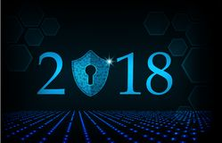 Bonne année 2018 Concept de sécurité de Cyber : Bouclier avec Keyhol Photo stock