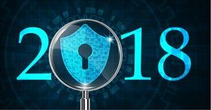 Bonne année 2018 Concept de sécurité de Cyber : Bouclier avec Keyhol illustration libre de droits