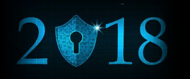 Bonne année 2018 Concept de sécurité de Cyber : Bouclier avec Keyhol Image libre de droits