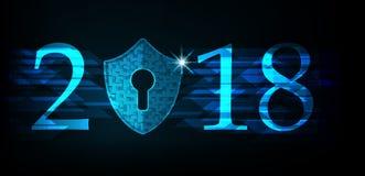 Bonne année 2018 Concept de sécurité de Cyber : Bouclier avec Keyhol Photo libre de droits