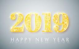 Bonne année 2019, conception de nombres d'or de carte de voeux, illustration de vecteur illustration de vecteur