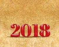 Bonne année 2018 3d rendant la couleur rouge au scintillement d'or Images libres de droits