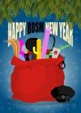 Bonne année de BDSM Jouets de sexe dans le sac rouge Santa Claus Ne d'adulte Images stock