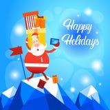 Bonne année de carte de voeux de Joyeux Noël de photo de Santa Claus Present Box Making Selfie Photographie stock