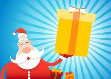 Bonne année de carte de voeux de Joyeux Noël de Santa Claus Hold Big Present Box Images stock
