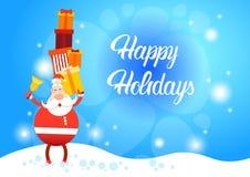 Bonne année de carte de voeux de Joyeux Noël de Santa Claus Hold Big Present Box Photo stock