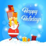 Bonne année de carte de voeux de Joyeux Noël de Santa Claus Hold Big Present Box Image libre de droits