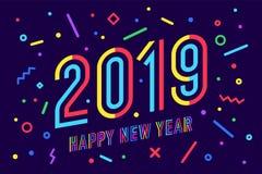 2019, bonne année Bonne année 2019 de carte de voeux Images libres de droits