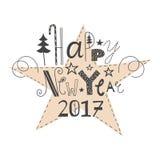 Bonne année de inscription tirée par la main 2017 de vecteur Photos libres de droits