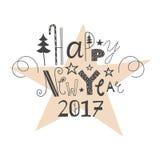 Bonne année de inscription tirée par la main 2017 de vecteur Image stock