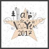 Bonne année de inscription tirée par la main 2017 de vecteur Images stock