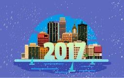 Bonne année en ville Élément de design de carte de salutation de vecteur Photos stock