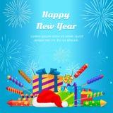 Bonne année 2017 Ensemble de feux d'artifice, boîte-cadeau Image stock