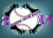 Bonne année 2017 et base-ball Photo libre de droits