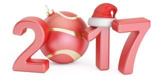 Bonne année 2017 et marient le concept de Noël, le rendu 3D Photo stock