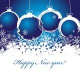 Bonne année, fond avec des flocons de neige et des boules de Noël Photo stock