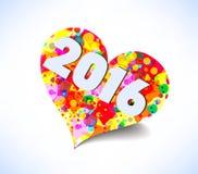 Bonne année 2016 Fond coloré abstrait de coeur Photographie stock libre de droits