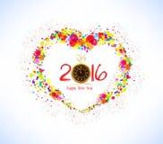 Bonne année 2016 Fond coloré abstrait de forme de coeur Image stock