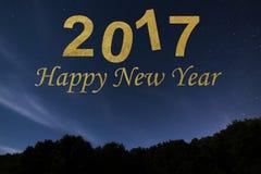 Bonne année 2017 Fond d'an neuf heureux Ciel de nuit Photos stock