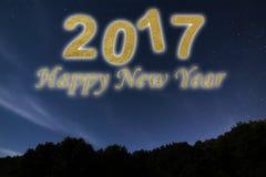 Bonne année 2017 Fond d'an neuf heureux Ciel de nuit Image stock