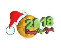 Bonne année globe d'or de Noël de 2018 vacances Photographie stock libre de droits