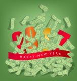 Bonne année 2017 Homme réussi d'affaires sous la pluie d'argent Image libre de droits