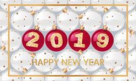 Bonne année 2019 illustration de salutation avec des nombres d'or Décoration de fond Calibre de design de carte de salutation illustration stock