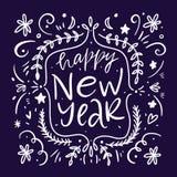 Bonne année 2019 Illustration de VectorHapp de vacances marquant avec des lettres la composition Calligraphie moderne de brosse D illustration de vecteur