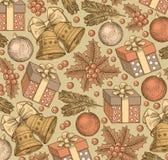 Bonne année, Joyeux Noël Fond de l'hiver vacances Cadeaux, jouets, cloches, style réaliste d'arbre Fond de salutation positionnem Photographie stock libre de droits