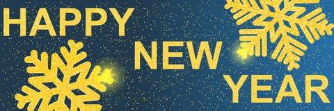 Bonne année 2019 Noël Le texte et les flocons de neige avec le scintillement d'or illustration de vecteur