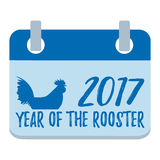Bonne année plate d'isolement par calendrier Coq, symbole d'o 2017 Images libres de droits