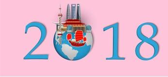 Bonne année 2018 Points de repère de Changhaï sur le globe Style de papier d'art et de métier Images stock