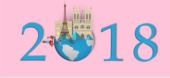 Bonne année 2018 Points de repère des Frances sur le globe Style de papier d'art et de métier Photographie stock
